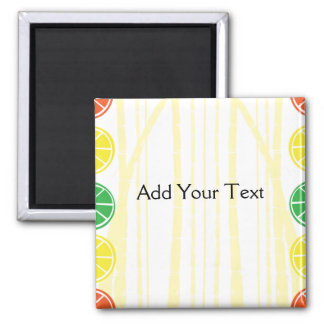 Citrus Fruit Slices and Bamboo Background 2 Inch Square Magnet