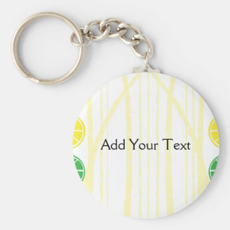 Citrus Fruit Slices and Bamboo Background Basic Round Button Keychain