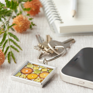 Citrus Fruit Slices Silver-Colored Square Keychain