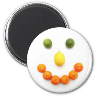 Citrus Fruit Smiley Smile 2 Inch Round Magnet