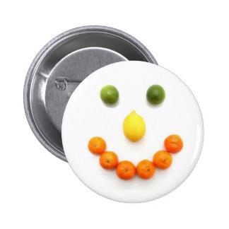 Citrus Fruit Smiley Smile Pinback Button