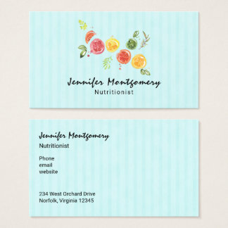 Citrus Fruits in Watercolor on Striped Pattern Business Card