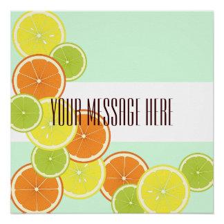 Citrus Fruits Pattern Cute Modern Summer Custom Poster