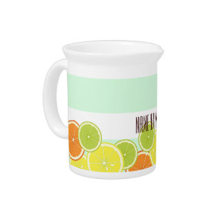 Citrus Fruits Summer Cute Modern Personalized Drink Pitcher