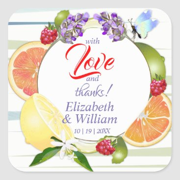 Citrus Fruits Thank You Wedding Square Sticker