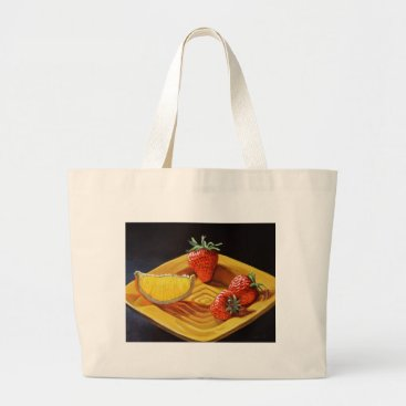 Beach Themed Citrus Juicy Strawberry Orange Large Tote Bag