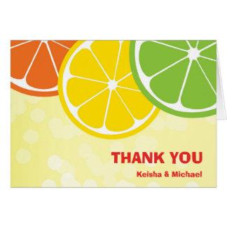 Citrus lemon lime orange summer bubbly thank you card