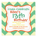 Citrus Lime Chevron Birthday Party Invitations