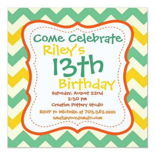 Citrus Lime Chevron Birthday Party Invitations