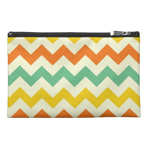 Citrus Lime Green Orange Yellow Chevron Zigzags Travel Accessories Bag