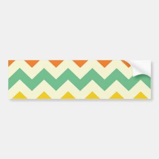 Citrus Lime Green Orange Yellow Chevron Zigzags Bumper Sticker