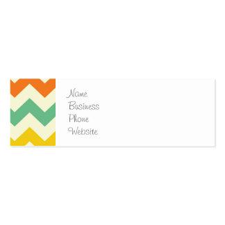 Citrus Lime Green Orange Yellow Chevron Zigzags Business Card Templates