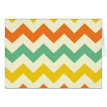 Citrus Lime Green Orange Yellow Chevron Zigzags Note Card