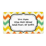 Citrus Lime Green Orange Yellow Chevron Zigzags Custom Shipping Label