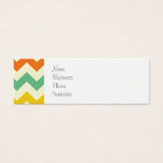 Citrus Lime Green Orange Yellow Chevron Zigzags Mini Business Card