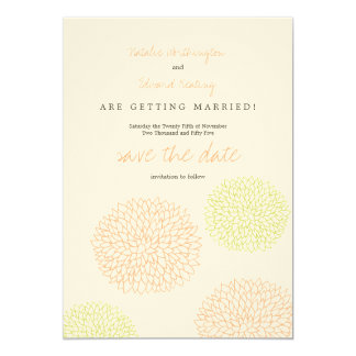 Citrus & Lime Modern Flowers Save the Date 5x7 Paper Invitation Card