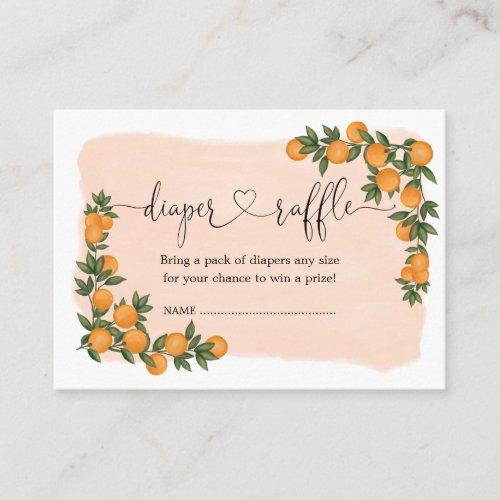 Citrus Orange Clementine Greenery Diaper Raffle Enclosure Card