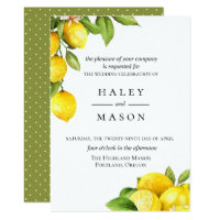 Citrus Orchard Lemon Wedding Invitation