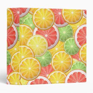 Citrus pattern - grapefruit, lemon, lime, orange 3 ring binder