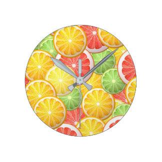 Citrus pattern - grapefruit, lemon, lime, orange round clock