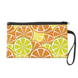 Citrus pattern wristlet purse