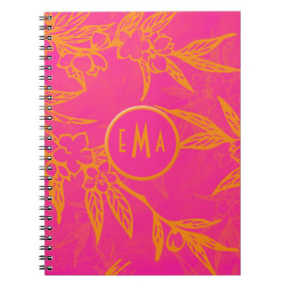 Citrus Pink and Orange Flowers Note Books