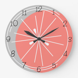 Citrus Pink White numbers clock grey
