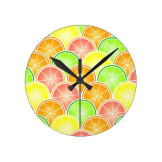 Citrus Scallop Pattern Round Clock