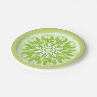 Citrus Slices Green Lime Paper Plate