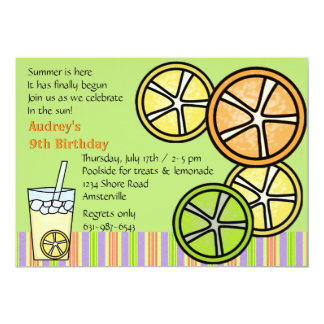 Citrus Slices & Lemonade Party Invitation
