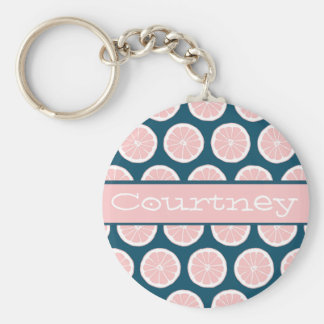 Citrus Slices with Personalized Nameplate Basic Round Button Keychain