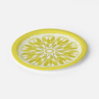 Citrus Slices Yellow Lemon Paper Plate