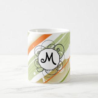 Citrus Splash Modern-Retro Stripes with Monogram Coffee Mug