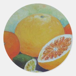 Citrus Splash Round Sticker