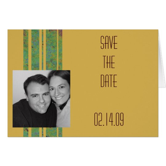 Citrus Stripe Photo Save the Date Card