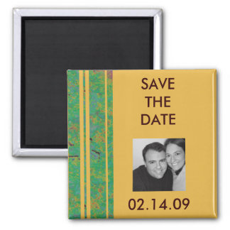 Citrus Stripe Save the Date Photo Magnet