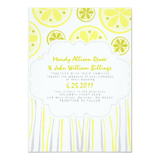 Citrus Stripes Wedding Invitation
