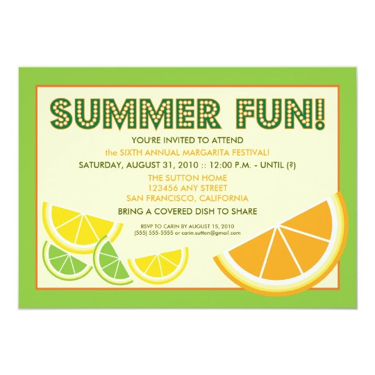 citrus summer fun cookout invitation green zazzle com