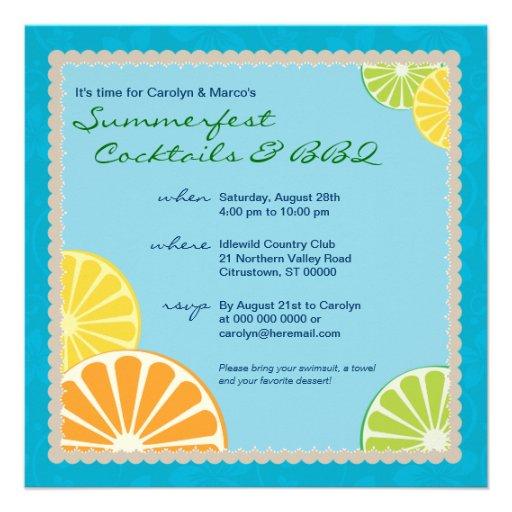 Citrus Summer Party Personalized Announcement
