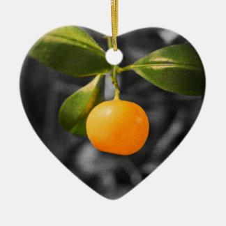 Citrus Tree Double-Sided Heart Ceramic Christmas Ornament
