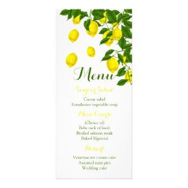 merrybrides Citrus Yellow Menu Lemon & Green Wedding Party