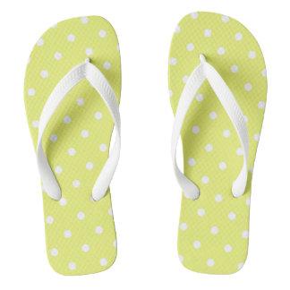 Citrus Yellow Polka Dot Flip Flops
