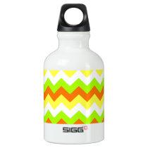 Citrus Zigzag Stripes Aluminum Water Bottle