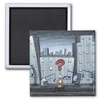 City 2 Inch Square Magnet