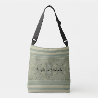 City Abstract Design with Stripes in Olive Green Crossbody Bag