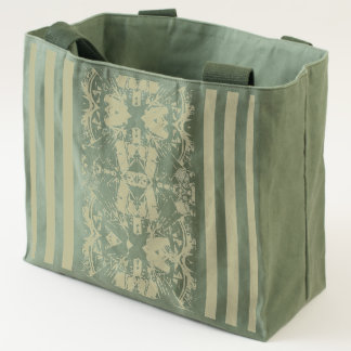 City Abstract with Stripes in Olive Green Tote
