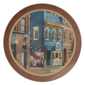 City - Alexandria, VA - King Street Blues Melamine Plate