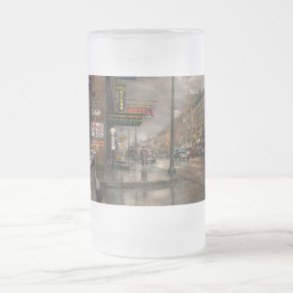 City - Amsterdam NY -  Call 666 for Taxi 1941 Frosted Glass Beer Mug