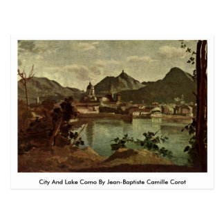 City And Lake Como By Jean-Baptiste Camille Corot Postcard