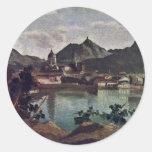 City And Lake Como, Italian: La Città E Il Lago Di Round Sticker